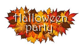 Партия хеллоуина на листьях осени стоковое фото