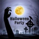 Партия хеллоуина на пугающем погосте под полнолунием Стоковое Изображение