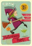 Партия хеллоуина с ведьмой иллюстрация вектора
