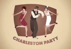 Партия Чарлстона: Человек и смешные девушки танцуя Чарлстон Стоковое Изображение