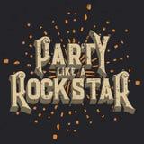 Партия любит графический дизайн футболки Rockstar, иллюстрация вектора Стоковые Изображения RF