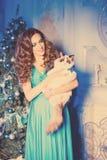 Партия Christmans, женщина зимних отдыхов с котом Новый Год девушки Стоковое Фото