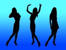партия silhouettes женщины Стоковые Фото