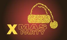 Партия Xmas 2018 шляпа santa, абстрактный дизайн, вектор, для знамен, рогульки плакатов иллюстрация вектора