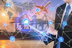 Партнер c интерфейса технологии соединения глобального бизнеса глобальный Стоковое Фото