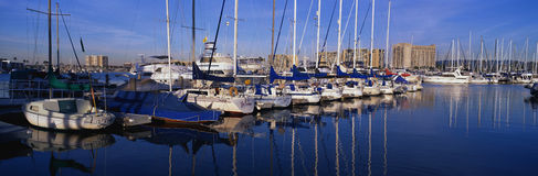 Парусники причаленные в гавани Стоковая Фотография RF