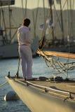 Парусник в заливе St Tropez стоковое фото rf
