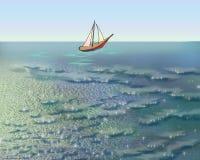 Парусник в море в утре лета бесплатная иллюстрация