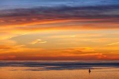 Парусник и заход солнца Стоковое фото RF