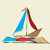 Парусник и отражения в волнах моря Стоковые Фотографии RF