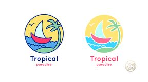 Парусник логотипа установленный Стоковые Фото