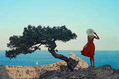 Парусник молодой женщины ждать Стоковое Изображение