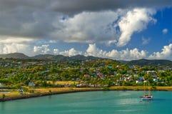 Парусник причаленный в порте гавани St. John, Антигуы, Вест-Индиев стоковые фото