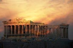 Парфенон, висок на афинском акрополе, предназначенном к девичьей богине Афине Стоковая Фотография