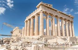Парфенон в акрополе, Греции Стоковые Изображения