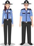 Пары американского полицейския и женщина-полицейского стоя совместно на белой предпосылке в плоском стиле Концепция США полиции П Стоковая Фотография RF