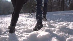 Пары бежать в парке снега акции видеоматериалы