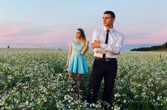 Пары бежать в поле держа руки Стоковое Изображение