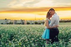 Пары бежать в поле держа руки Стоковые Фото
