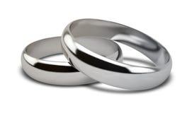 Пары белого золота обручального кольца Стоковые Изображения RF