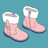 Пары ботинок зимы девушки Стоковое Фото