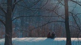 Пары выбытые Active идя в снег видеоматериал