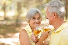 пары выпивая возмужалое вино Стоковое Фото