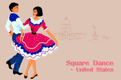 Пары выполняя квадратный танец от Соединенных Штатов Америки иллюстрация штока