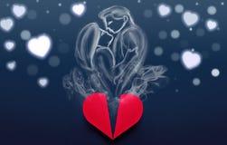 Пары в влюбленности сделанной дыма приходя от коробки сердца, валентинки d Стоковые Фото