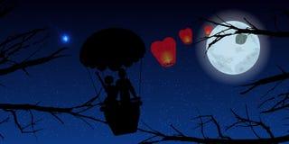 Пары в воздушном шаре и деревьях иллюстрация Стоковое Фото