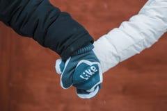 Пары в влюбленности держа руки в mittens Стоковое Изображение RF