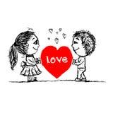 Пары в влюбленности совместно, эскиз валентинки для вашего Стоковые Фото