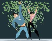 Пары в дожде денег Стоковые Изображения
