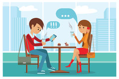 Пары в кафе - Vector иллюстрация с ландшафтом города на окне Люди сидя на таблице на беседе обеда телефоном Стоковая Фотография RF
