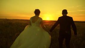 Пары в любов на отключении медового месяца Жених и невеста ( Счастливые человек и женщина бегут на заходе солнца акции видеоматериалы