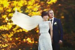 Пары в национальных костюмах на предпосылке зеленеют парк Стоковое Изображение