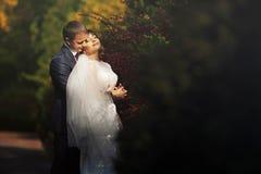 Пары в национальных костюмах на предпосылке зеленеют парк Стоковые Фотографии RF