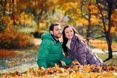 Пары в парке осени стоковое фото