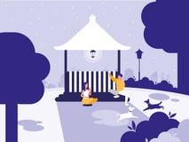 Пары в парке с значком изолированным киоском иллюстрация штока