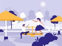 Пары в парке с значком изолированным спортивной площадкой иллюстрация штока