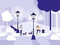 Пары в парке с лампами изолировали значок иллюстрация вектора