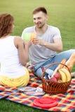 Пары в пикнике Стоковые Изображения