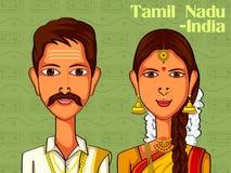 Пары в традиционном костюме Tamil Nadu, Индии иллюстрация вектора