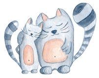 Пары влюбленности котов акварели Стоковые Изображения RF