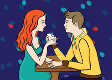Пары в caffee Стоковое фото RF