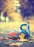 Пары голубых ботинок спорта мочат и гантели положенные на путь в переулке осени дерева с кленовыми листами - аксессуарами для, ко Стоковые Фото