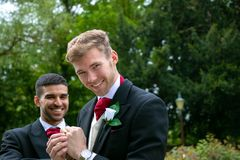 Пары гомосексуалиста grooms представляют для фотоснимок после их свадебной церемонии Стоковые Фото