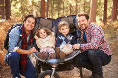 Пары гомосексуалиста мужские нажимая детей в багги через древесины стоковое изображение