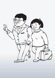 Пары гуляя совместно Стоковое Изображение