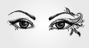 Пары глаз, чертеж руки иллюстрация штока